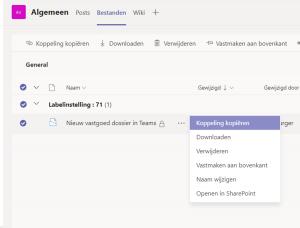 Metadata view in Teams - documentset opties